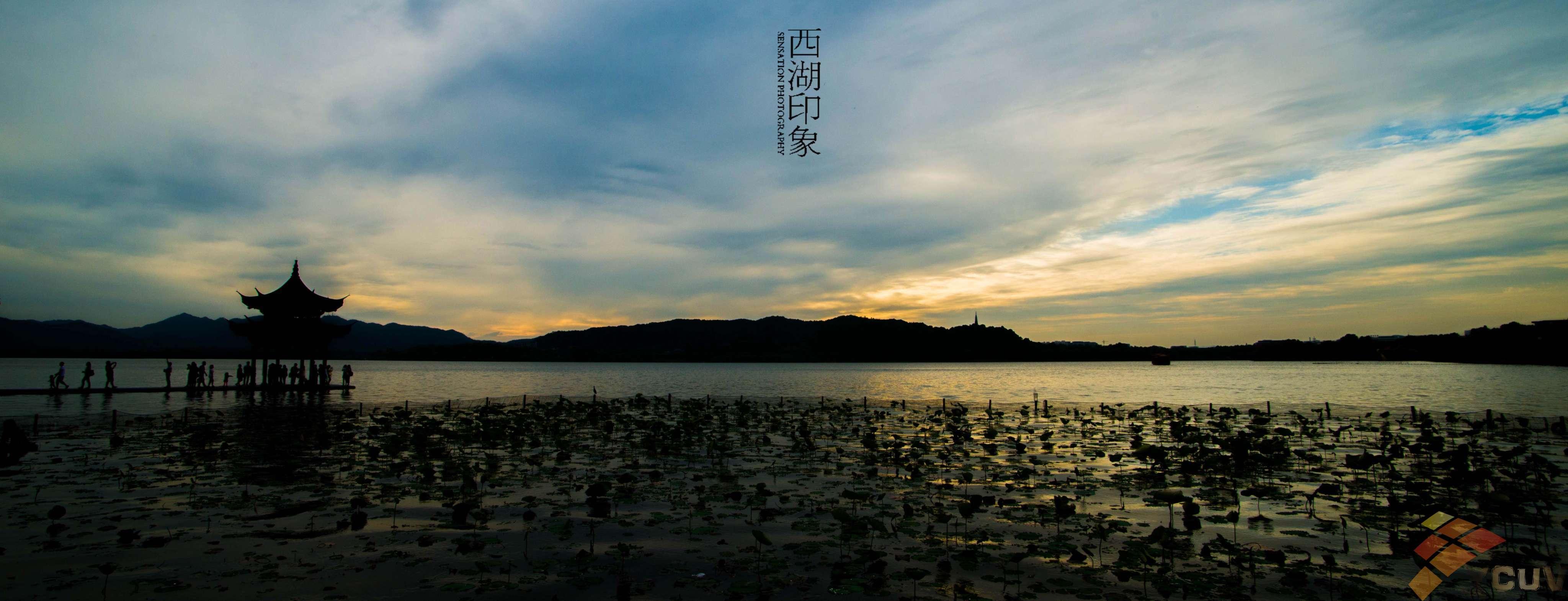 西湖横幅风景图片